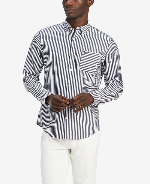 Tommy Hilfiger Men's Classic Fit Trey Stripe Shirt, Created for Macy's
