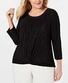 JM Collection Plus Size Textured Twist-Front Top, Created for Macy's