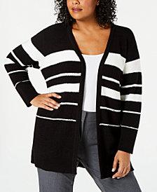 Calvin Klein Plus Size Striped Cardigan