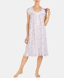 Eileen West Waltz Flower-Print Jersey Knit Nightgown E5019962