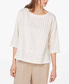 Eileen Fisher Striped Bateau-Neck 3/4-Sleeve Top, Regular & Petite