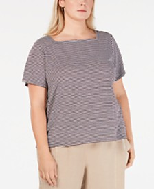 Eileen Fisher Plus Size Linen Striped T-Shirt