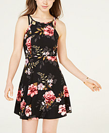 Planet Gold Juniors' Double-Strap Printed Skater Dress