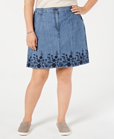 Karen Scott Plus Size Spring-Border Jean Skorts, Created for Macy's