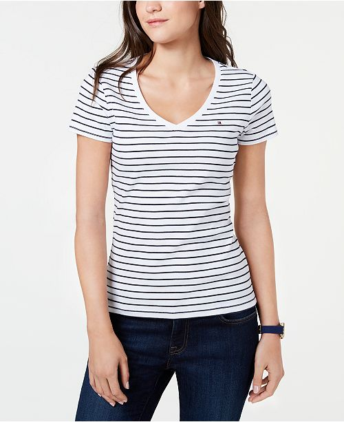 a56931ce Tommy Hilfiger Striped V-Neck T-Shirt, Created for Macy's & Reviews ...