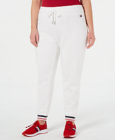 Tommy Hilfiger Sport Plus Size French Terry Striped Hem Track Pants