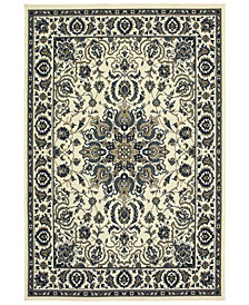 "Oriental Weavers Marina 1248W Ivory/Navy 2'5"" x 4'5"" Indoor/Outdoor Area Rug"