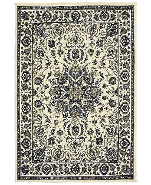 """Oriental Weavers Marina 1248W Ivory/Navy 2'5"""" x 4'5"""" Indoor/Outdoor Area Rug"""