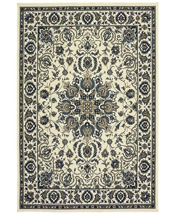 """Oriental Weavers Marina 1248W Ivory/Navy 8'6"""" x 13' Indoor/Outdoor Area Rug"""