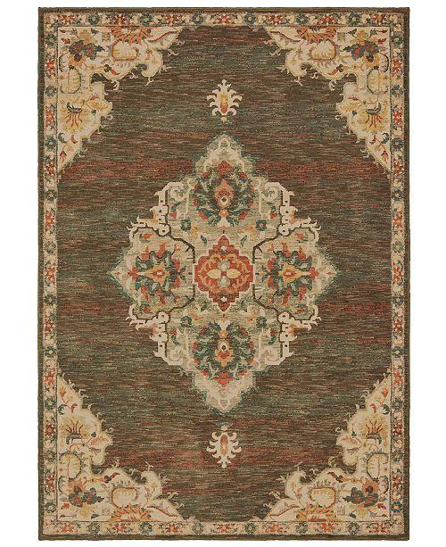 "Oriental Weavers Toscana 9568C Charcoal/Orange 1'10"" x 3' Area Rug"
