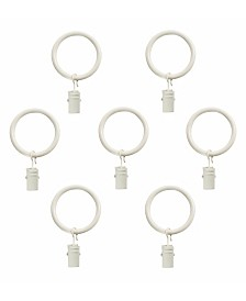 Montevilla Curtain Clip Rings for 5/8-Inch Curtain Rod, Set of 7, Distressed White