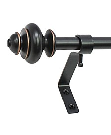 Montevilla 1/2-inch Urn Telescoping Cafe Curtain Rod Set, 48 to 86-Inch, Antique Black