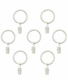 Curtain Clip Rings for 1-Inch Rod, Set of 7, Bright White
