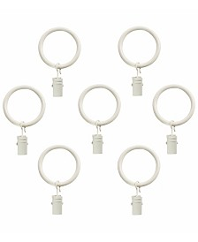 Decopolitan Curtain Clip Rings for 1-Inch Rod, Set of 7, Bright White