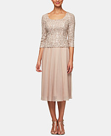 Alex Evenings Petite Sequin-Top A-Line Dress