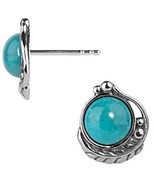 Turquoise Button Earring in Sterling Silver