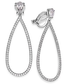 Silver-Tone Crystal Pear-Shaped Clip-On Drop Earrings, Created for Macy's