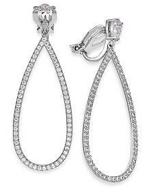 Eliot Danori Silver-Tone Crystal Pear-Shaped Clip-On Drop Earrings, Created for Macy's