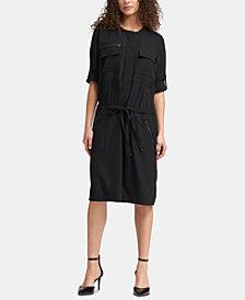 DKNY Drawstring-Waist Pocket Dress