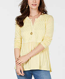 Style & Co Lace-Front Draped Top, Created for Macy's