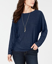 Style & Co Boat-Neck Dolman-Sleeve Sweater, Created for Macy's