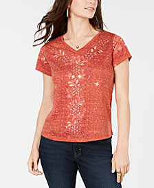 Style & Co Petite Metallic Floral Graphic-Print T-Shirt, Created for Macy's