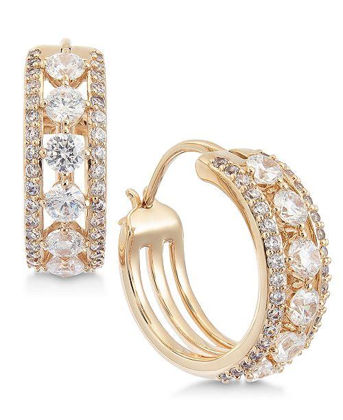 Eliot Danori Crystal Triple-Row Small Hoop Earrings  s, Created for Macy's