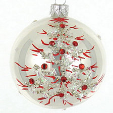 "White with Red Leaves 4 Pc Set of Mouth Blown & Hand Decorated European Glass 4"" Round Holiday Ornaments"