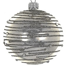 "Silver Swirl 4 Pc Set of Mouth Blown & Hand Decorated Glass European 4"" Round Holiday Ornaments"