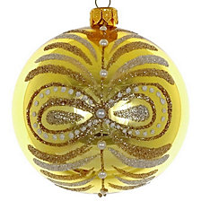 "Golden Shiny 4 Pc Set of Mouth Blown & Hand Decorated European 4"" Round Holiday Ornaments"