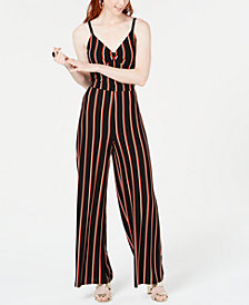 Bar III Striped Twist-Front Jumpsuit, Created for Macy's