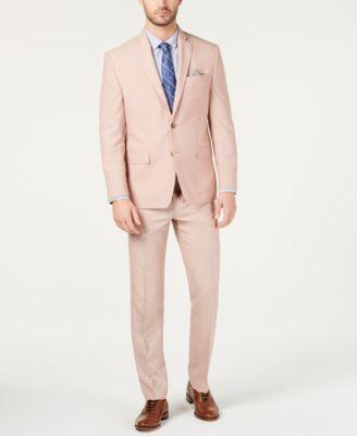 Men's Classic-Fit UltraFlex Stretch Pink Textured Suit Jacket