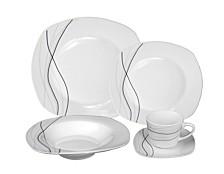 Porcelain 20 Piece Square Dinnerware Set Service for 4