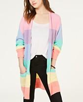 b5f48e20661522 Ultra Flirt Juniors  Rainbow Stripe Shaker-Stitch Cardigan