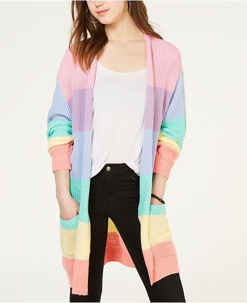 Ultra Flirt Juniors' Rainbow Stripe Shaker-Stitch Cardigan