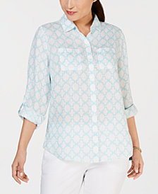 Charter Club Linen Printed Roll-Tab Blouse, Created for Macy's