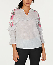 Style & Co Petite Embellished Striped Top, Created for Macy's