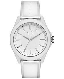 A|X Armani Exchange Men's Drexler White Polyurethane Strap Watch 44mm