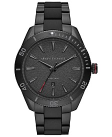 A|X Armani Exchange Men's Enzo Black Stainless Steel Bracelet Watch 46mm