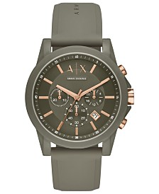 A|X Armani Exchange Men's Chronograph Outerbanks Green Silicone Strap Watch 44mm