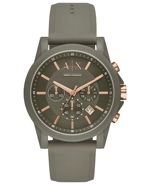 Armani Exchange A|X Men's Chronograph Outerbanks Green Silicone Strap Watch 44mm
