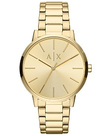 A|X Armani Exchange Men's Cayde Gold-Tone Stainless Steel Bracelet Watch 42mm