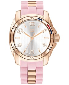 Women's Blush & Rose Gold-Tone Silicone Strap Watch 36mm, Created For Macy's
