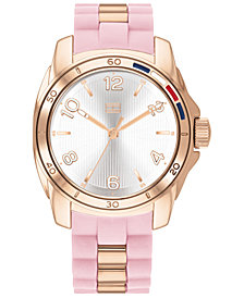 Tommy Hilfiger Women's Blush & Rose Gold-Tone Silicone Strap Watch 36mm, Created For Macy's