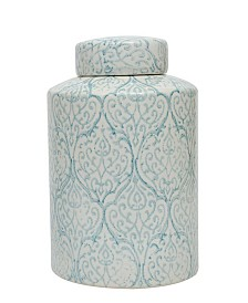 Large Decorative Ceramic Ginger Jar w/Lid