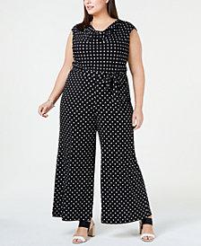Connected Plus Size Printed Wide-Leg Jumpsuit