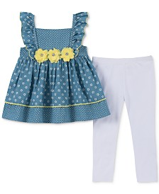 Kids Headquarters Little Girls 2-Pc. Floral Appliqué Tunic & Leggings Set