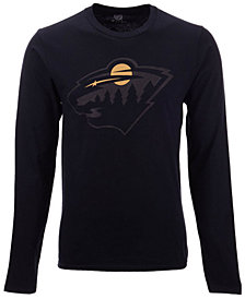 Authentic NHL Apparel Men's Minnesota Wild Blackout Long Sleeve T-Shirt