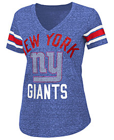 G-III Sports Women's New York Giants Sleeve Stripe Bling T-Shirt