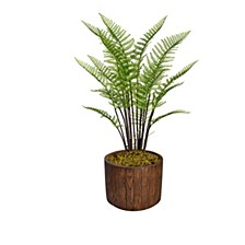 "46.8"" Tall Fern Plant Artificial  Greenery Decorative with Burlap Kit In 12.8"" Brown Wood-like Fiberstone Planter"